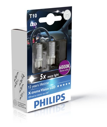 Philips 129666000KX2 Lot de 2 ampoules LED T10 X-treme Vision 6000 K 12 V (emballage carton)