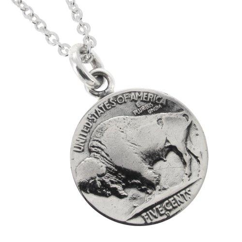新宿銀の蔵 5セントコイン シルバー ネックレス(チェーン付きペンダントトップ) (表 アメリカバイソン 裏 ネイティブアメリカン)