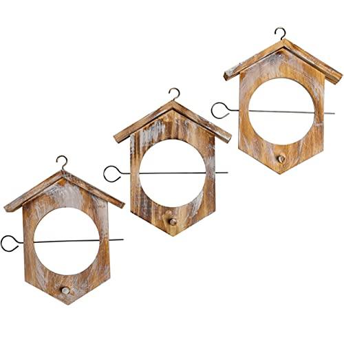 Gardigo Apfel Futterstation 3er Set aus FSC Holz I Meisenknödelhalter zum Aufhängen I Futterstation, Futterhalter für Wildvögel