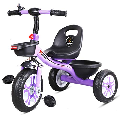 Kids Bicycle Kids Bikes Portable and Safety Kid Three Wheel Car with Backrest Increase Storage Basket Best for Baby (Color : Purple)