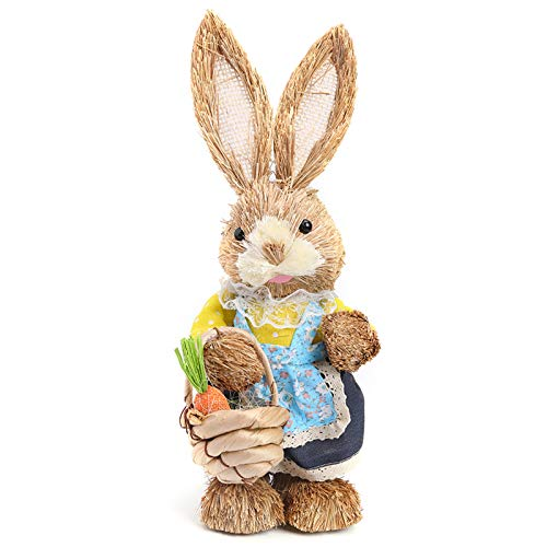 LYEAA Osterhase aus Stroh, Ostern Stroh Kaninchen, 32cm stehender Hase Figuren mit Karotte , handgefertigte Figur für Ostern, Heimdekorationen, Statue, Fotografie-Requisiten, Ostergeschenk (Stil 3)