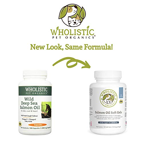 Wholistic Pet Organics Salmon Oil: Deep Sea Wild Alaskan Salmon Oil for Dogs - Omega 3 Dog Fish Oil with EPA and DHA for Skin, Coat, Heart and Nervous System Health