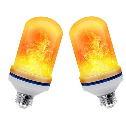 LED Flame Effect Light Bulb, 4 Modes with Upside Down Effect, 2 Pack E26 LED Bulbs, Flame Fire Flickering Smart Bulbs for Halloween Decorations, Christmas Lights, Hotel, Bar Party Decoration (2 Pack)
