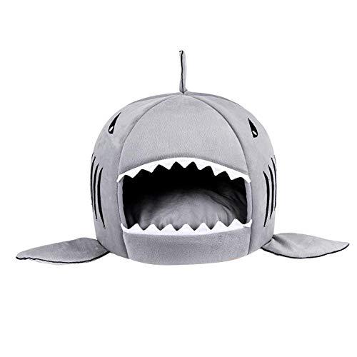 FLAMEER Camas de tiburón para Gatos pequeños, medianos, Camas para Perros, casa Nido para Perros, sofá para Perros, casa de Invierno para Cachorros - Grey M