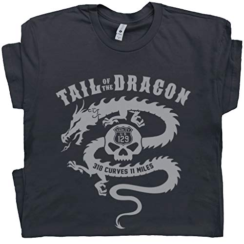 L - Motorcycle T Shirt Tail of The Dragon Tee Harley Indian Triumph for Men Women Route 66 Sturgis Biker Black