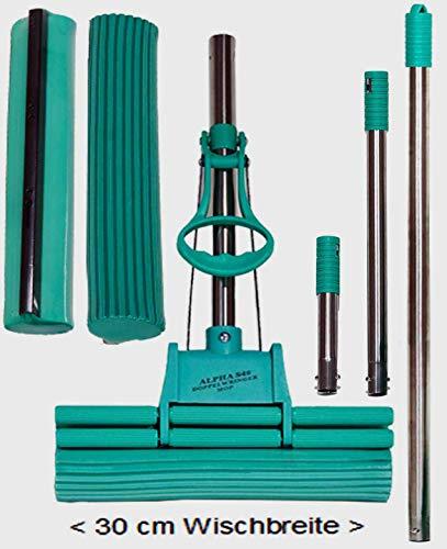 Alpha S4® Original Green Doppelwringer Mop® 30cm - 5teilig 1 Ersatzschwamm, 3 Edelstahlstiele (kein ALU) einstellbar von 0,80m bis 2m. (Original aus QVC, HSE, RTL)
