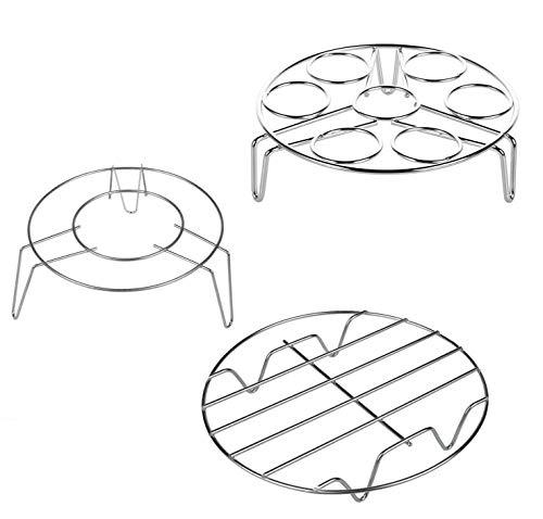Cestas para huevos, rejilla refrigeradora, acero inoxidable, cestas para cocinar al vapor, cremallera de vapor de la cocina, apto para cocinar huevos, enfriar alimentos (3 piezas, plata)
