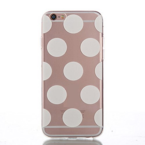 SecondDromi Cute Many Wave Dot Patterns Silicone Funda para iPhone 6S(4,7'), para iPhone 6,Blanco