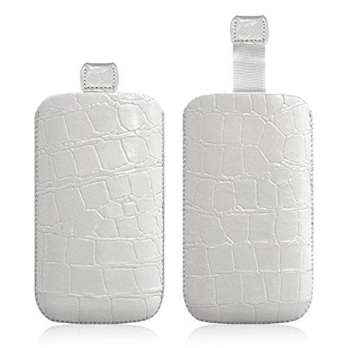 Seluxion LM07Schutzhülle Krokooptik, Farbe Weiß für Wiko Lubi 2/Lubi 3