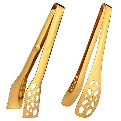 IAXSEE 2 pinzas de cocina para cocinar 25,4 cm de acero inoxidable dorado para ensalada, pinzas para barbacoa, pinzas de metal resistentes al calor, utensilios de servir dorado...