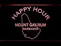 Mount Gay Rum Happy Hour LED看板 ネオンサイン ライト 電飾 広告用標識 W60cm x H40cm レッド