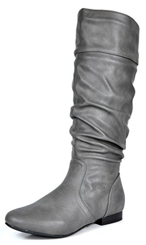 DREAM PAIRS Women's BLVD Grey Pu Knee High Pull On Fall Weather Boots Size 9 M US