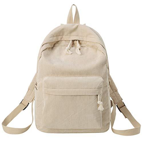 Mode Rucksack Studententasche weichen Stoff Rucksack weibliche Cord Design Schule Rucksack Mädchen gestreiften Rucksack Frau Beige