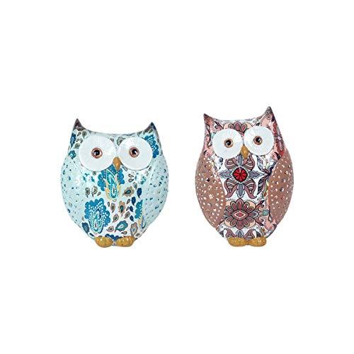 Set de 2 Figuras Decorativas de Resina Multicolores Búhos Pintados a Mano....