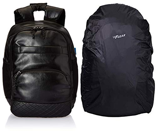 F Gear Luxur Anti Theft 25 Liters Laptop Backpack (Black) & F Gear Repel Rain & Dust Cover for Laptop Bags and Backpacks