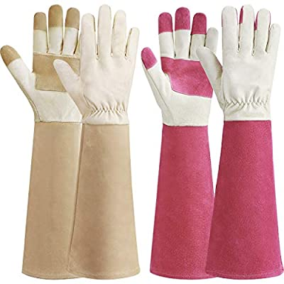 2 Pairs Rose Pruning Gloves Pigskin Leather Thorn Proof Yard Working Gardening Gloves with Long Forearm to Protect Arms Until The Elbow for Thorny Bushes Cacti (Pink, Beige, M)