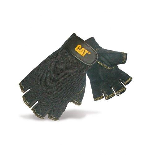 Caterpillar 12202 Herren Halbfinger Handschuhe / Handinnenfläche aus Schweineleder (Large) (Schwarz)