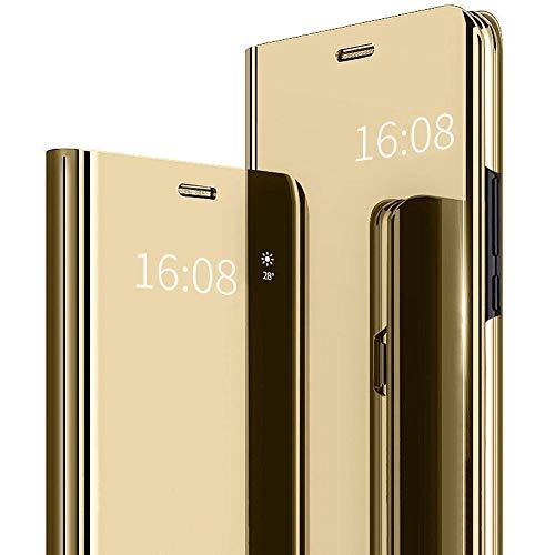 MadBee Funda Huawei Honor 8 Lite [Protector Pantalla], Fundas de Espejo Elegante Brillante Standing Flip Carcasa Cover Carcasa Funda Case para Huawei P8 Lite 2017 / Honor 8 Lite (Oro)