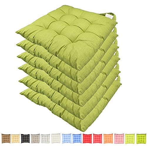 Set 6 cuscini sedia con lacci Casaviva Made in Italy lavorati a mano in 100% cotone stampato effetto lino imbottitura deluxe 7 cm (carta da zucchero) (verde mela)