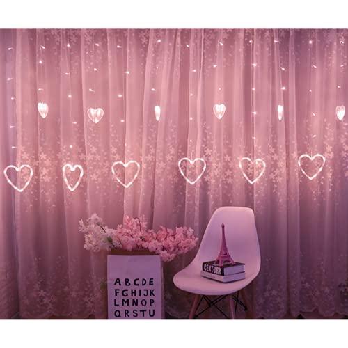 Wandskllss Cadena de luces LED multicolor, iluminación de Navidad, cadena de luces para dormitorio, hadas, Navidad, cortina decorativa, rosa6 grande y 6 pequeñas