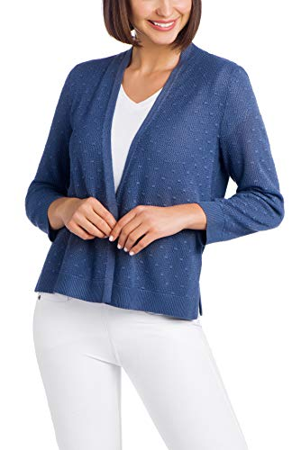 Cable & Gauge Womens Apparel Open Front Overlap Shrug - Mesh Bobble Stitching