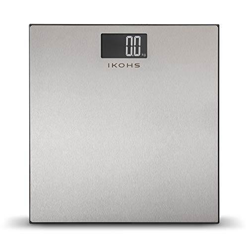 IKOHS STYLANCE WELLNESS - Báscula de Baño con Pantalla LCD, compacta, Capacidad de 180 kg, Acero Inoxidable
