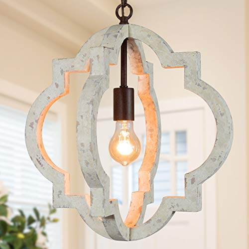 KSANA Farmhouse Chandeliers for Dining Rooms, Wood Orb Chandelier for Kitchen Island, Living Room, Bedroom, Foyer, D 16
