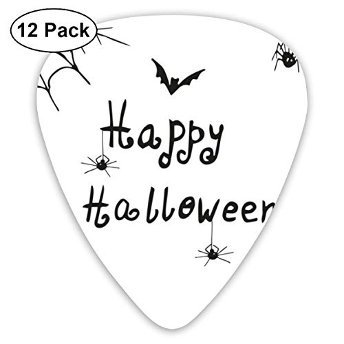 Guitar Picks12pcs Plectrum (0.46mm-0.96mm), Happy Halloween Celebration Monochrome Hand Drawn Style Creepy Doodle Artwork,For Your Guitar or Ukulele