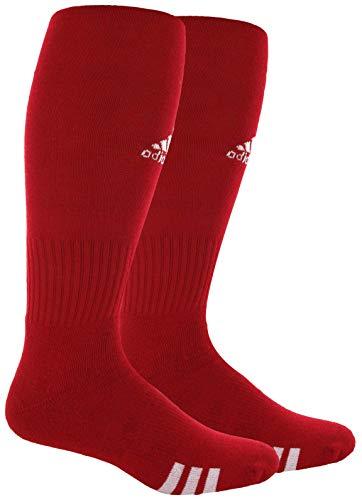 adidas Unisex Rivalry Field OTC Socks (2-Pair), University Red/ White, Large