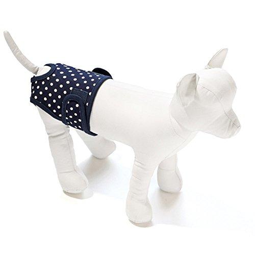 【犬と生活】サニタリーパンツドットLGSサイズ《生理パンツおむつカバー介護ヒートマジックテープ》(ネイビー)