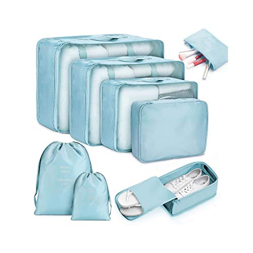 GYZX 8 Piezas Bolsas de Viaje Impermeables Ropa Organizador de Equipaje edredón Manta Bolsa de Almacenamiento Maleta Bolsa de Embalaje Bolsas de Cubo