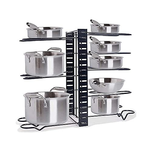 Woodiva Multipurpose pan and Pot tawa Rack Holder Stand Plate Dish lid Tray Utensils cookware Cupboard Cabinet Storage Shelf Shelves Organiser Organizer for Kitchen & Cafeteria(Black)