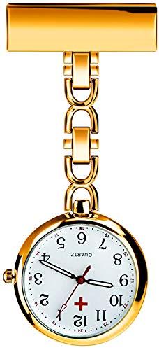 L&H Gadgets Krankenschwesteruhr mit Clips [Wasserdicht/Mehrfarbige/Quarzuhr/Präzise] Pulsuhr für Krankenschwester Geschenke/Schwesternuhr Eingebauter Akku (Golden)