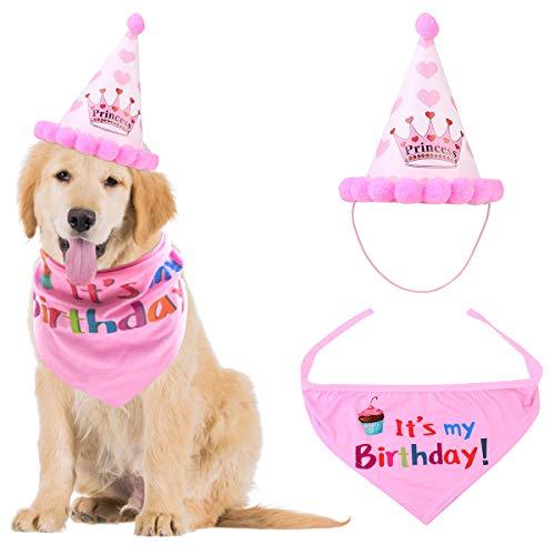 NATUCE Dog Birthday Bandana Sciarpe e Cappello Buon Compleanno Carino Partito per Cani Pet Decorazioni Regalo di Compleanno Set (Rosa)