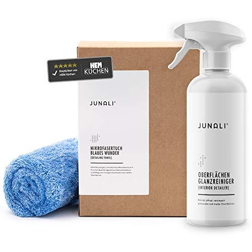 JUNALI® Glossy Set, Oberflächen Glanzreiniger & Blaues Wunder Tuch, Pflege für Hochglanz Küchen, für Naturstein, Chrom, Glas, Kunststoff, Holz (1x 500 ml + Tuch)