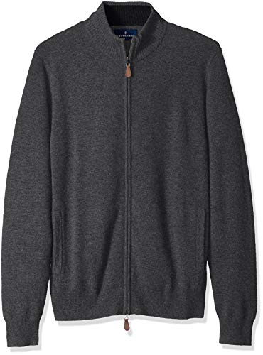 Amazon Brand - BUTTONED DOWN Men's 100% Premium Cashmere Full-Zip Sweater, Dark Grey, Large