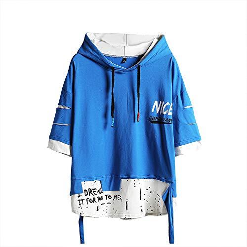 Herren Mode Trends Hoodies Hip Hop Patchwork Pullover Hoodie Top (Schwarz, Small) - - Small