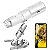STPCTOU Wireless Digital Microscope 50X-1000X Handheld Portable Mini WiFi USB Microscope Camera with 8 LED Lights for iPhone/iPad/Smartphone/Tablet/PC- White