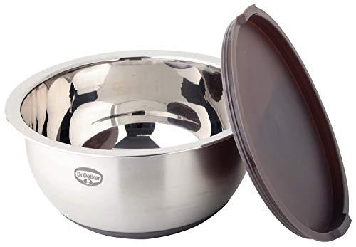 Dr. Oetker Rührschüssel mit Deckel Ø 24 cm, 5 Liter Küchenschüssel, Salatschüssel mit rutschfestem Silikonboden, hochwertige Teigschüssel aus Edelstahl (Farbe: Grau-Braun/Silber)