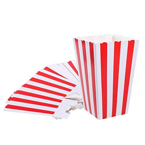 VAINECHAY 12PCS Cajas de palomitas Carton Maíz Caja Papel Pequeña Dulces Papas Fritas Fiesta Cumpleaños para Niños Caja Regalo Comida Bocadillos Titulares Contenedor Onda Dorada Rojo