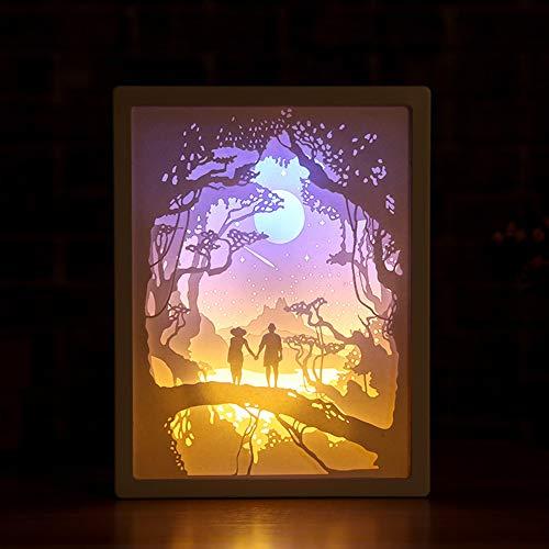 ZHIRCEKE DIY Papercut Lichtkartons 3D Schatten Box LED Light Night Lampe Kunst Dekoration 3D Papier Carving Licht Lampe LED Geschenk Paar, Paar Geständnis Urlaubsraum Dekoration,E