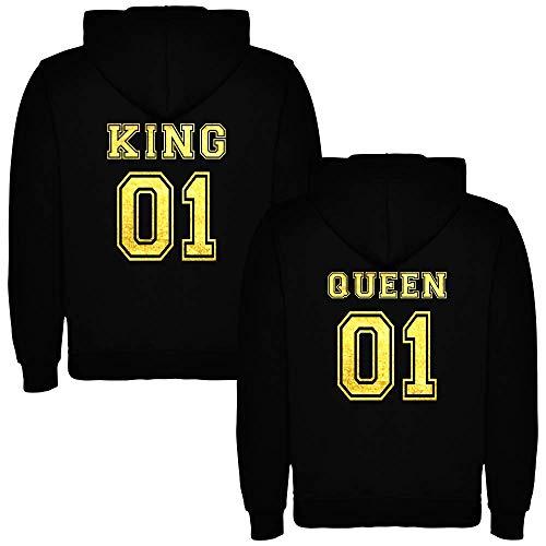 Pack de 2 Sudaderas Negras para Parejas, King 01 y Queen 01, Dorado