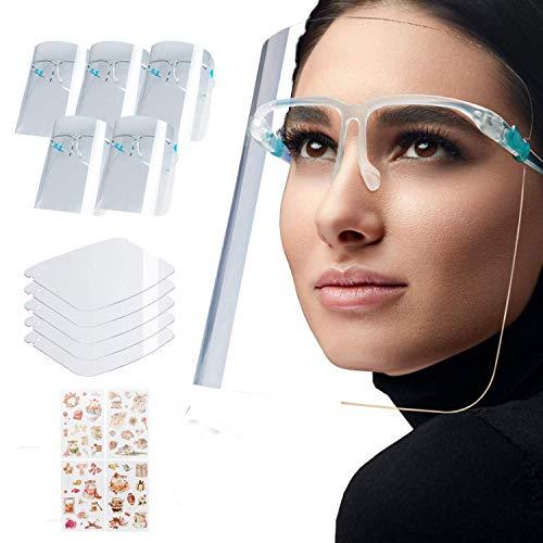 5 Stück Gesichtsschild Face Shield Schutzvisier Brillenschild mit Brillengestell Mundschutz(Kostenlose Cartoon-Aufkleber)(Vakuumverpackung)