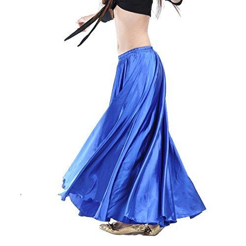 Gonna Calcifer per danza del ventre, lunga, in raso, da donna, per costumi e danzatrici professioniste, Blue