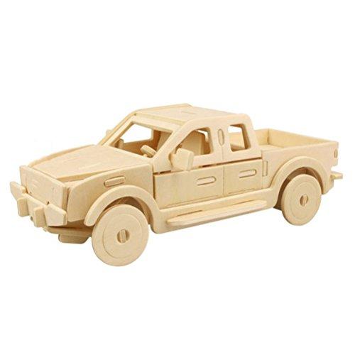 TOYMYTOY 3D Holzbausatz Holzpuzzle Kinder Modellbau Holz Auto Wagen Bausatz zum Zusammenstecken Pädagogisches Spielzeug Geschenk (Pickup Truck)