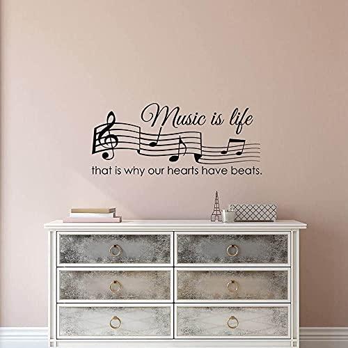La musica È VITA Ecco perché il nostro cuore HANNO Beats quote- Nota musicale decalcomanie chiave di violino camera da letto parete artista decorazione della casa 49x85 cm