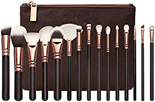 15pcs Professional Makeup Brushes with Stylish Storage (Brown)