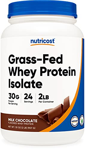 Nutricost Grass-Fed Whey Protein Isolate (Chocolate) 2LBS - Non-GMO, Gluten Free, Natural Flavors