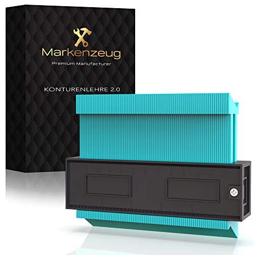 MARKENZEUG® DAS ORIGINAL Premium Konturenlehre - Verbessertes Konzept 2020 - Konturmessgerät groß Markierungshilfe Werkzeug - Duplikator Konturmesser Profillehre Messer 130mm für Laminat Fliesen & Co