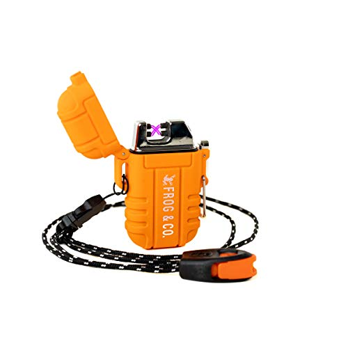 Tough Tesla Lighter – Outdoor Waterproof Windproof Dual Arc Plasma USB Electric w/Paratinder Lanyard & Emergency Whistle by Frog & Co. (Orange)